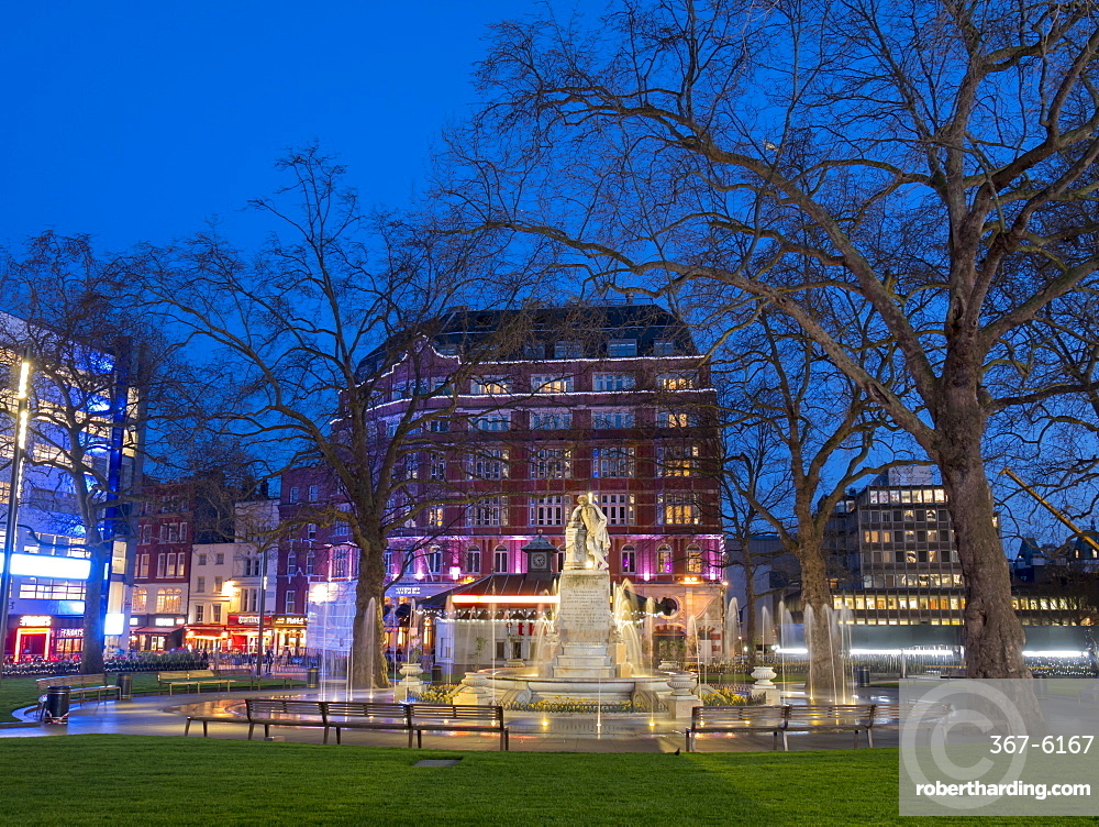 Redeveloped Leicester Square at dusk, London, England, United Kingdom, Europe