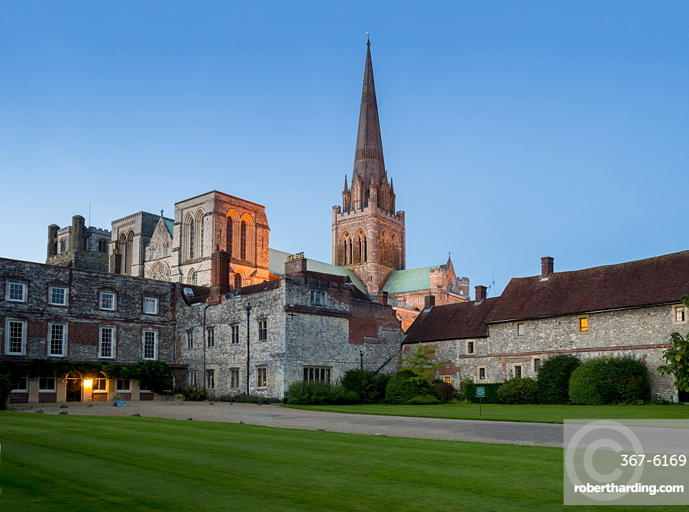 Chichester Cathedral dusk, Chichester, West Sussex, England, United Kingdom, Europe