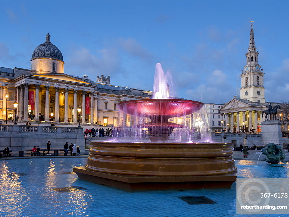 Trafalgar Square fountains and National Gallery at dusk, London, England, United Kingdom, Europe
