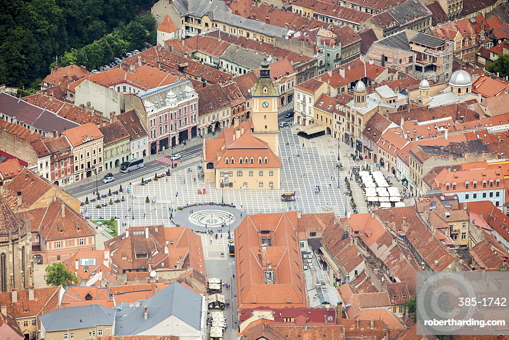 Old Market Square from Mount Tampa, Brasov, Transylvania, Romania, Europe