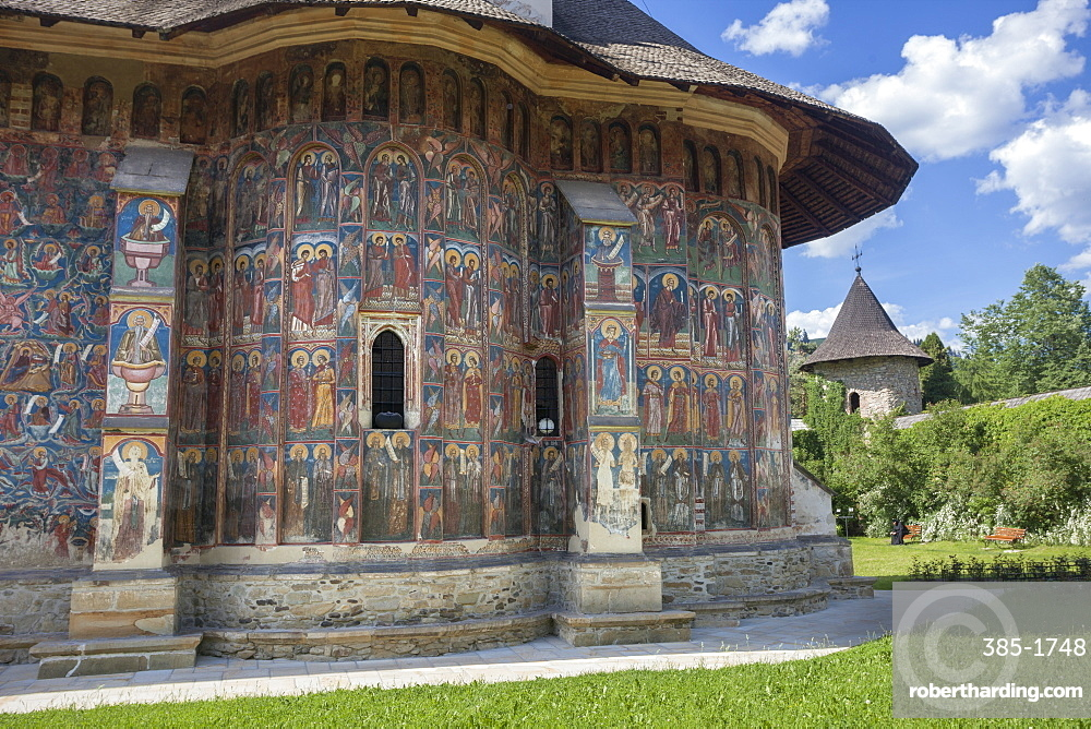 Saxon painted Church, Moldovitsa Monastery, founded 1532, Christian Orthodox, UNESCO World Heritage Site, Moldovitsa, Bukovina, Romania, Europe