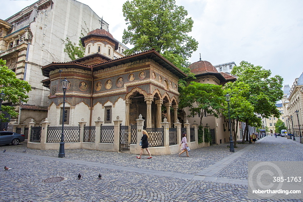 The Eastern Orthodox Monastery Stavropoleos built in 1724 and renovated, Old Quarter, Bucharest, Romania, Europe