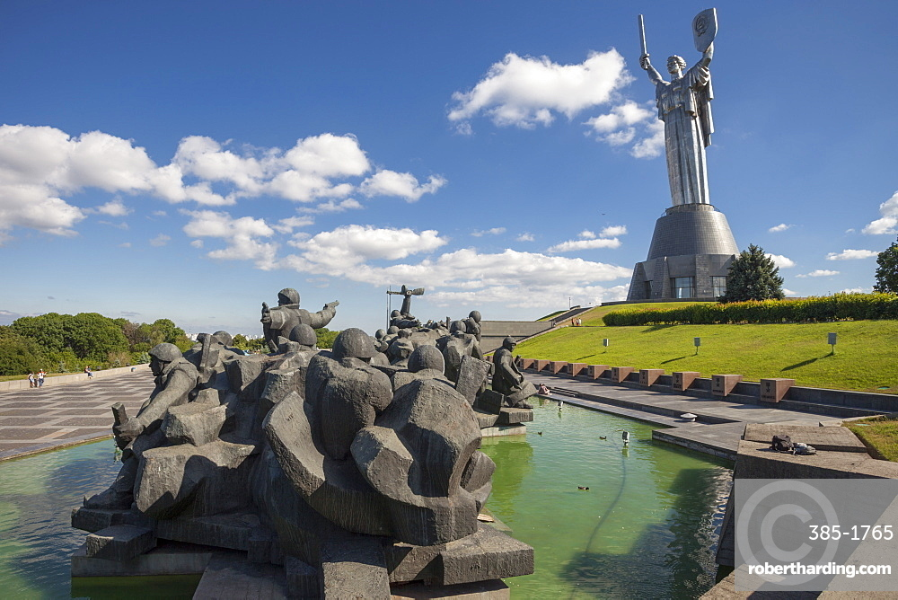 Soviet monument to the Crossing of the Dnieper and The Motherland Monument at Museum of The History of Ukraine in World War II, Kiev, Ukraine, Europe