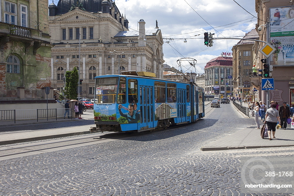 A tram car in the old historic part of city