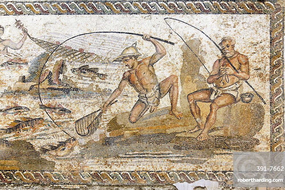 Roman mosaic dating from the 2nd century AD, from the Villa of the Nile at Leptis Magna, Jamahiriya Museum, Tripoli, Libya, North Africa, Africa