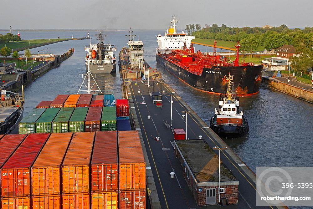 Brunsbuettel Lock of Kiel Canal, Schleswig-Holstein, Germany, Europe