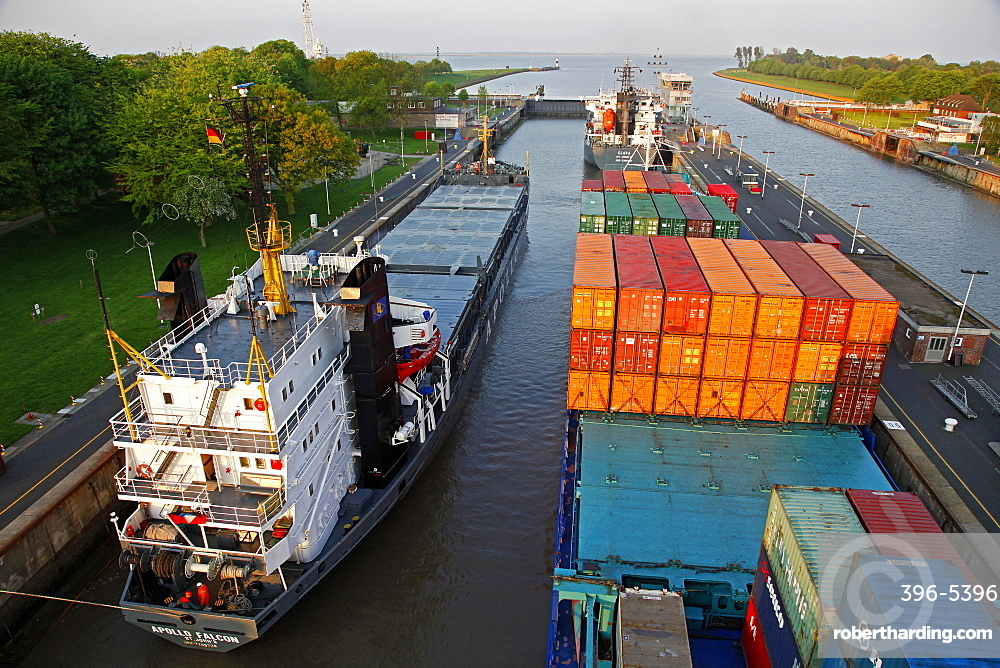 Brunsbuettel Lock of Kiel Canal, Schleswig-Holstein, Germany, Europe