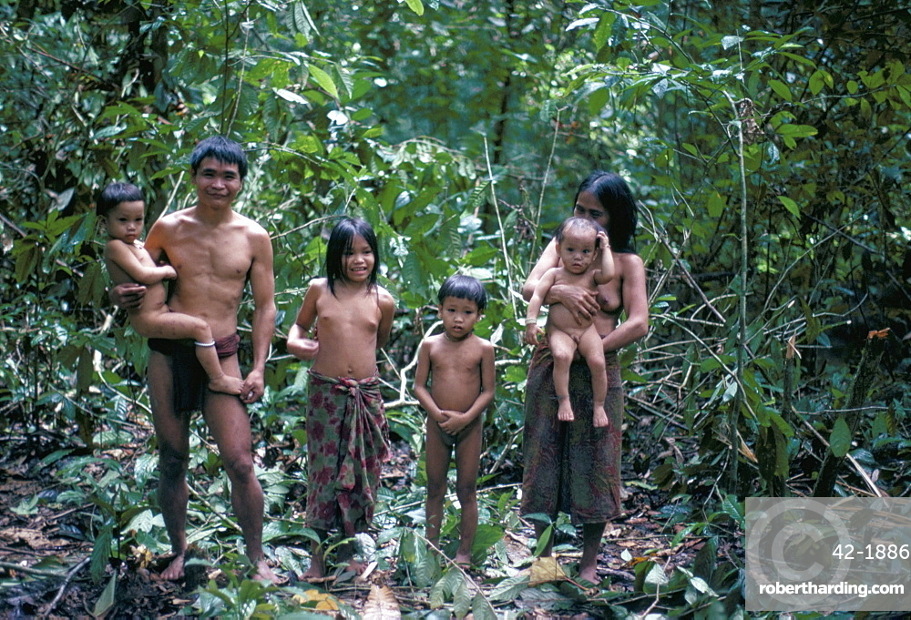 Penan family, Mulu expedition, Borneo, Indonesia, Southeast Asia, Asia