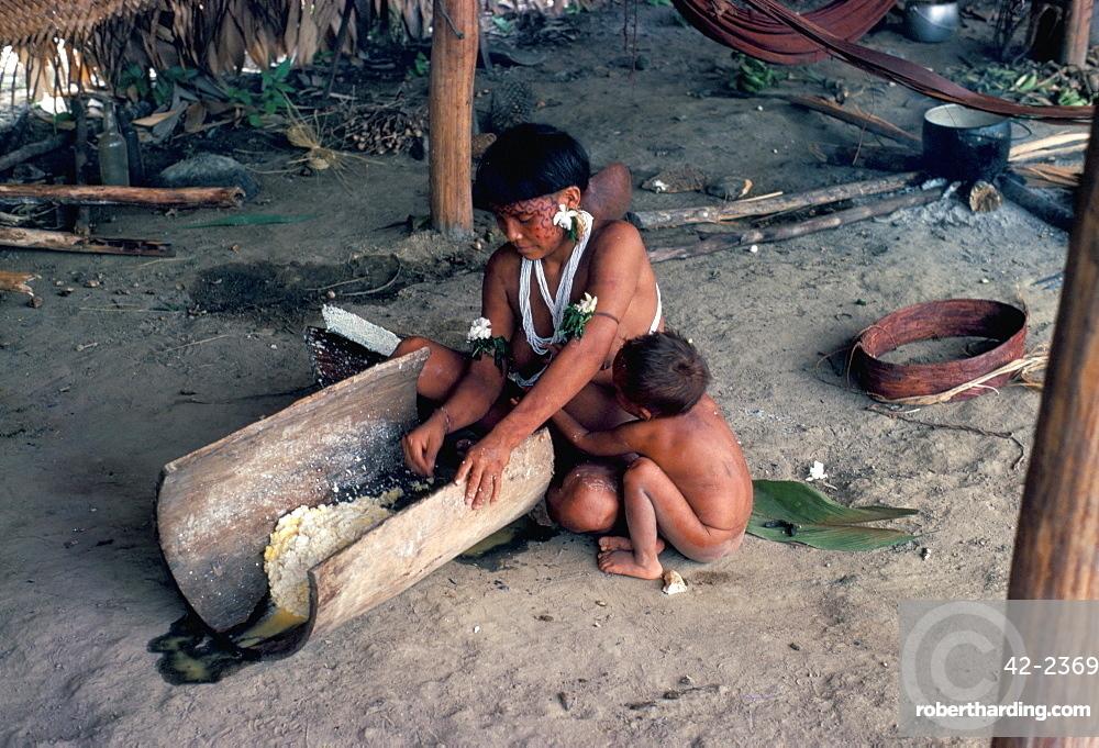 Yanomami woman preparing manioc, Brazil, South America