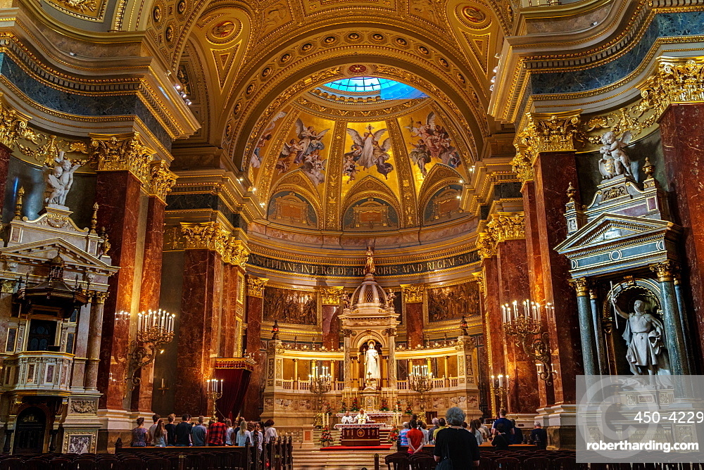 Bishop taking mass in St. Stephen's Basilica, Budapest, Hungary, Europe