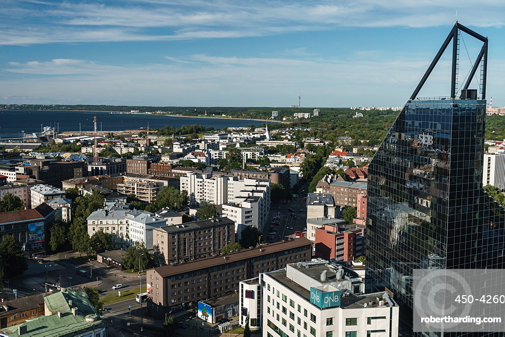 Cityscape of modern buildings and Baltic Sea, Tallinn, Estonia, Europe