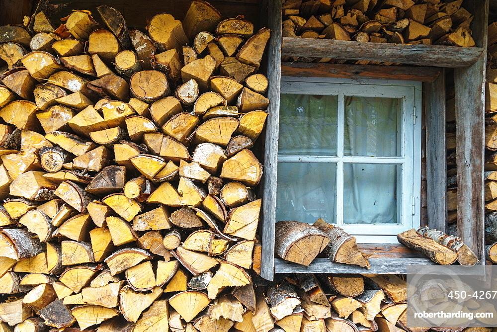 Storing up logs for winter, Kasmu, Estonia, Europe