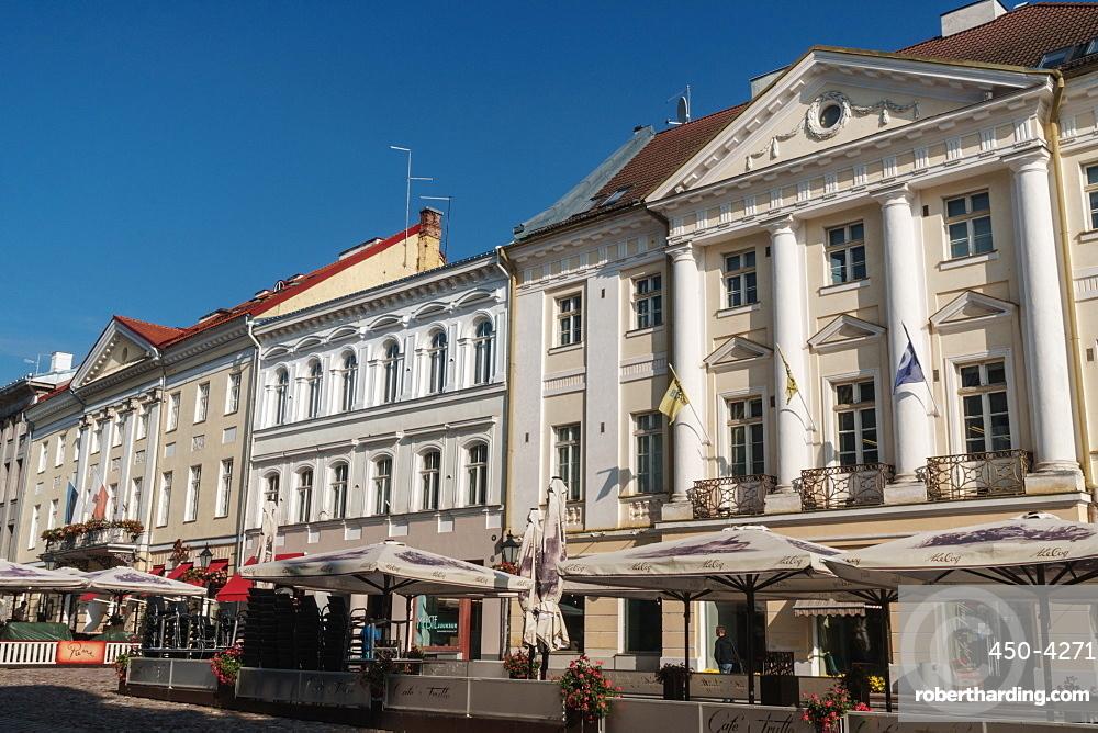 Neo-classical building facades, Town Hall Square, Tartu, Estonia, Europe