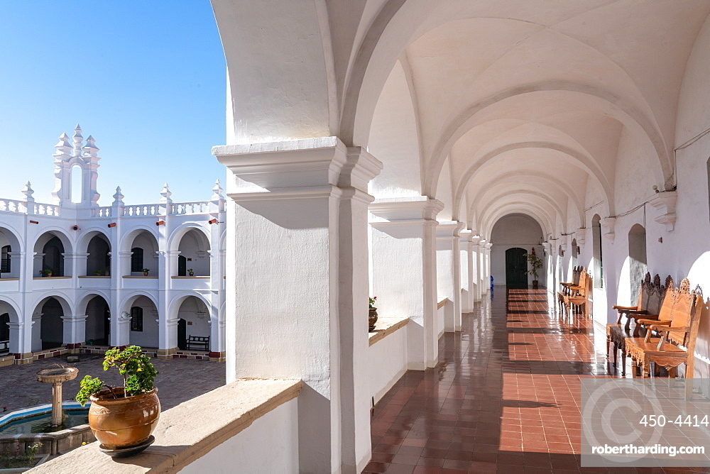 Courtyard and corridor inside neo-classical Church and Monastery of San Felipe Neri, Sucre, UNESCO World Heritage Site, Bolivia, South America