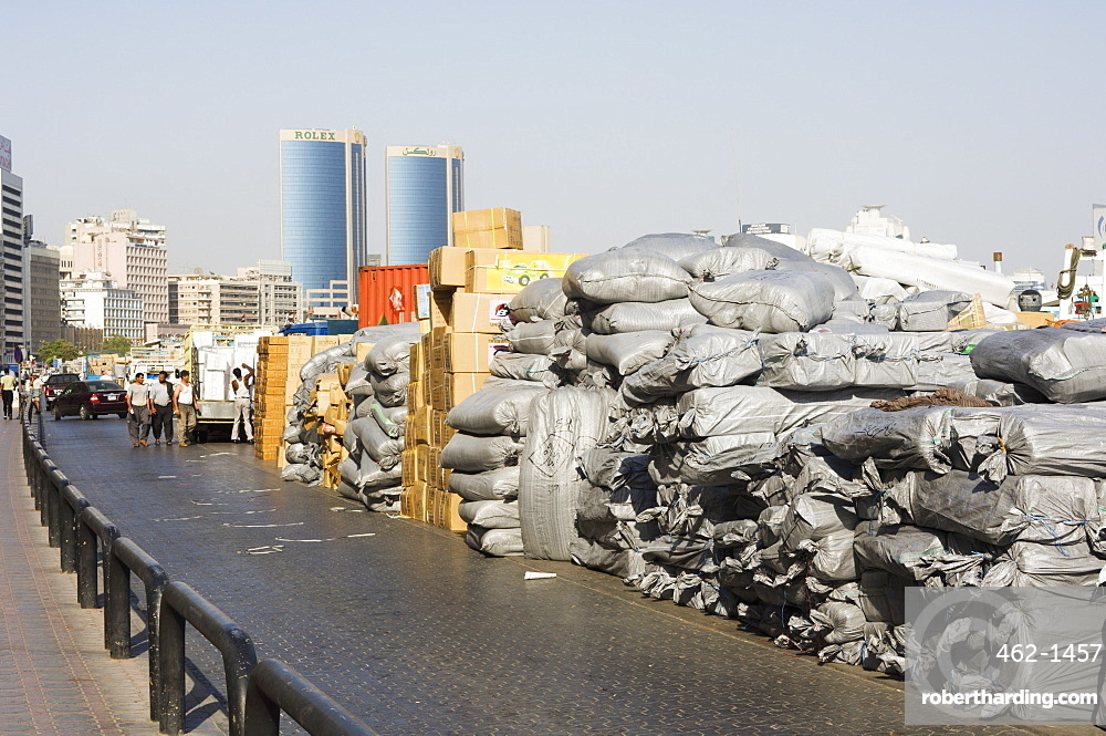 Goods stacked on the dockside | Stock Photo