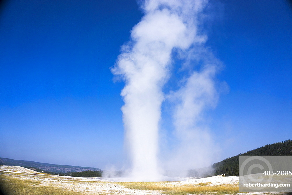Old Faithful geyser blowing, Yellowstone National Park, UNESCO World Heritage Site, Wyoming, United States of America, North America