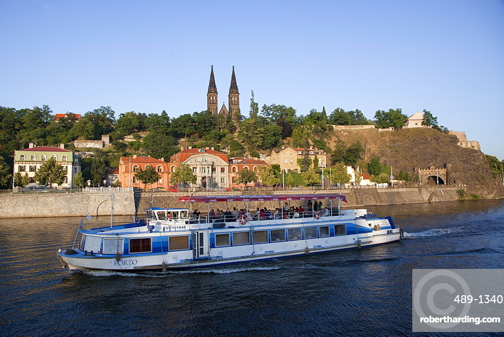 High Castle (Vysehrad) and river boat on Vltava River, Prague, Czech Republic, Europe