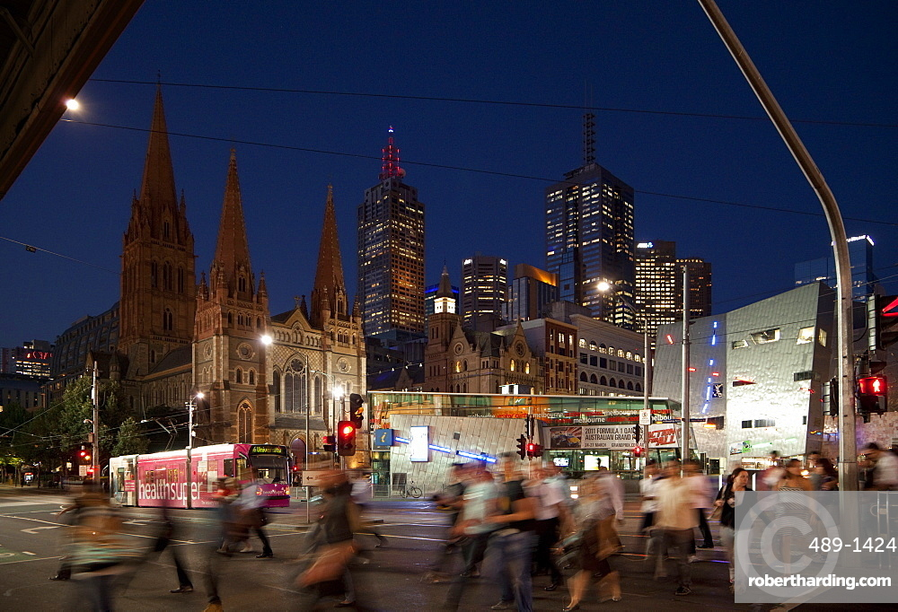 St. Paul's Cathedral and Federation Square at night, Melbourne, Victoria, Australia, Pacific