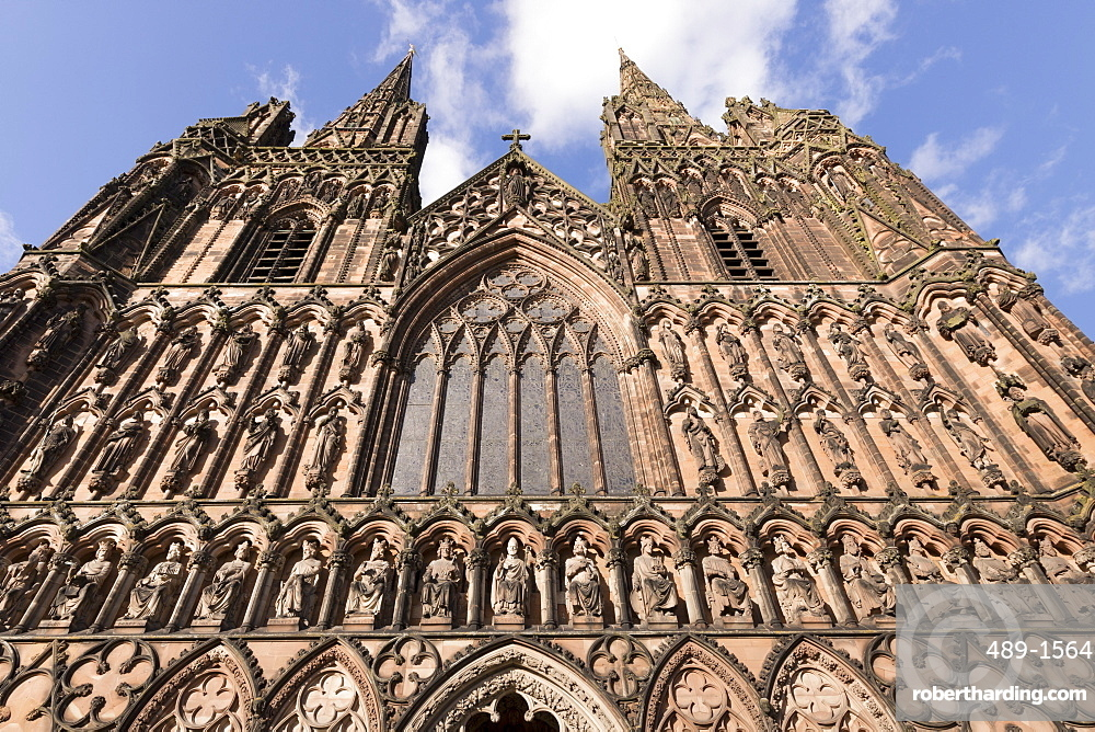 West Front, Lichfield Cathedral, Lichfield, Staffordshire, England, United Kingdom, Europe