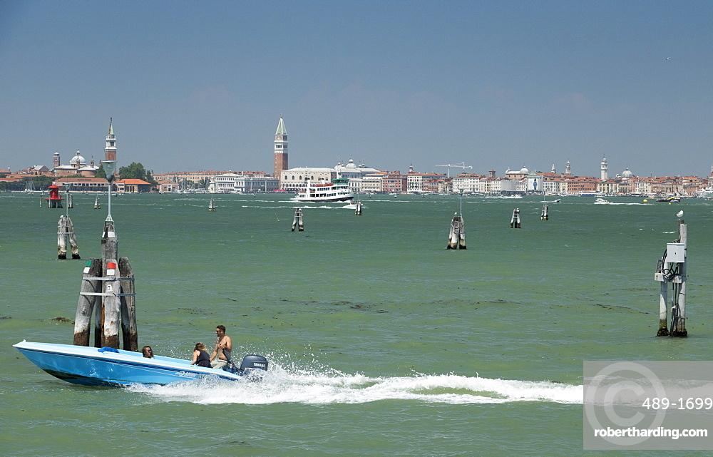 City skyline from Lido, Venice, UNESCO World Heritage Site, Veneto, Italy, Europe
