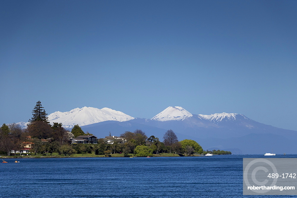 Mount Ruapehu, Ngauruhoe and Tongariro (active volcanoes) from Lake Taupo, North Island, New Zealand, Pacific
