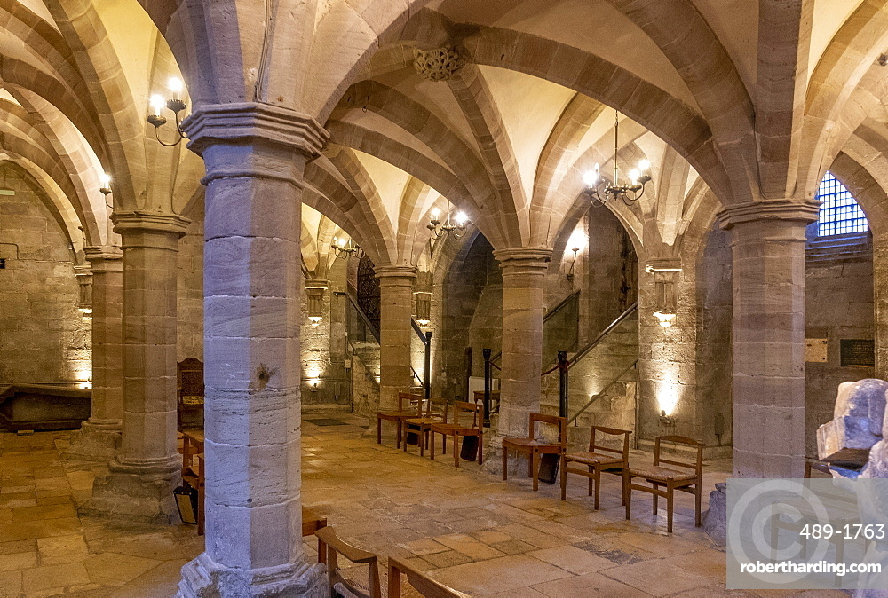 Crypt looking North West, Hereford Cathedral, Herefordshire, England, United Kingdom, Europe