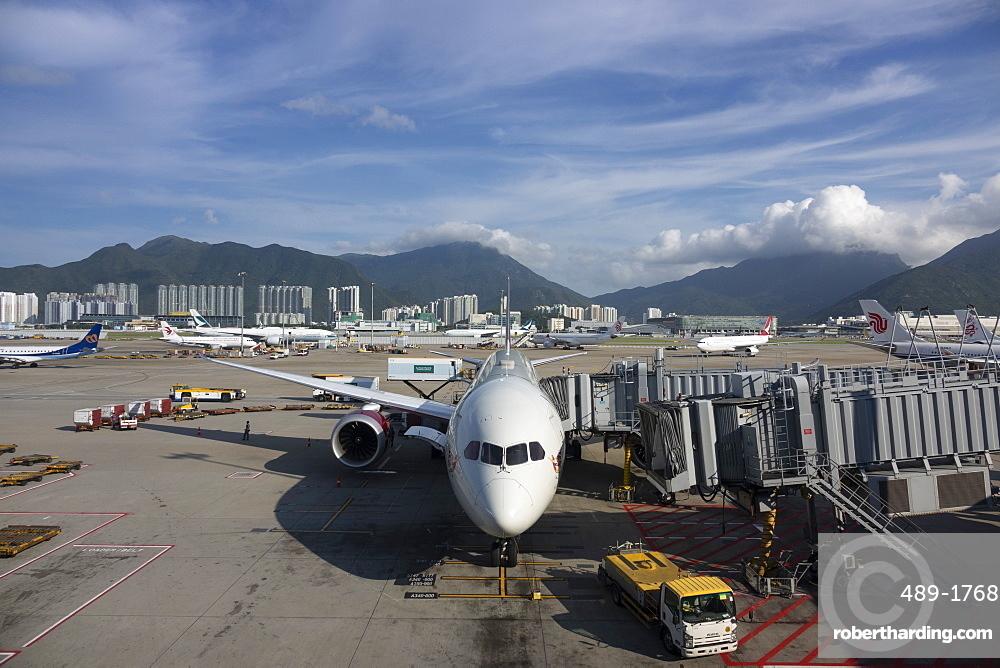 Boeing 787 Dreamliner at Hong Kong International Airport, Hong Kong, China, Asia