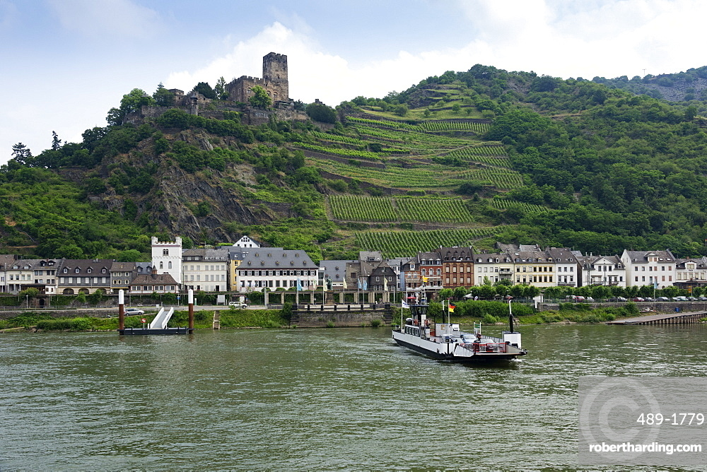 Kaub and Gutenfels Castle with car ferry, River Rhine, Germany, Europe
