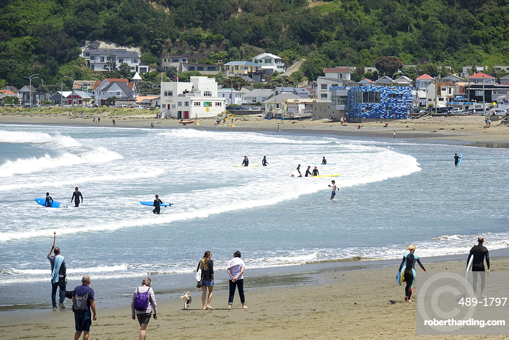 Surfers and walkers, Lyall Bay, Wellington, New Zealand