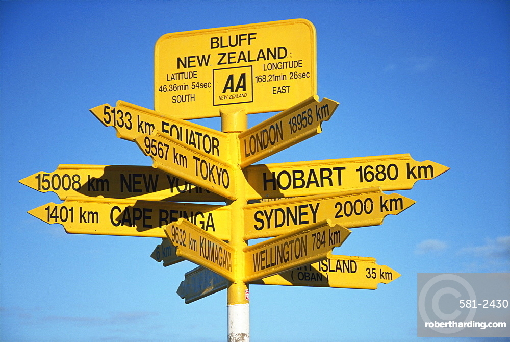 Signposts to cities around the world at most southerly point in the country, Bluff, Southland, South Island, New Zealand, Pacific