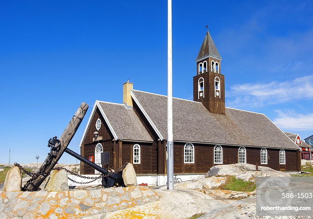 The 18th century Zions Kirke (Zion Churc) in summer 2016, Ilulissat (Jakobshavn), Qaasuitsup, Greenland, Polar Regions