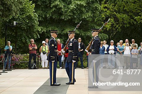 Changing the guards ceremony at the Tomb of the Unknown Soldier, Arlington National Cemetery, Arlington, Virginia, United States of America, North America