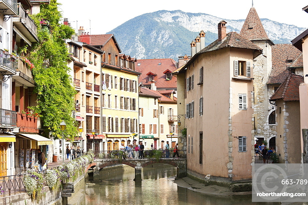A view of the old town of Annecy, Haute-Savoie, France, Europe