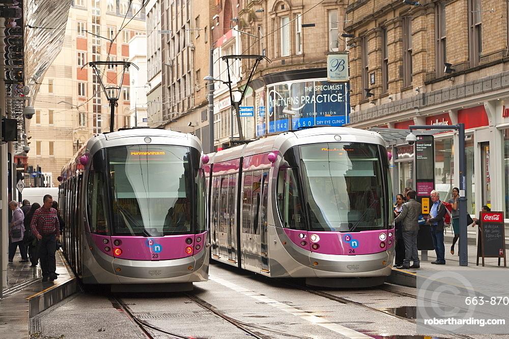 Tram system in Birmingham which runs from Birmingham to Wolverhampton, Birmingham, England, United Kingdom, Europe