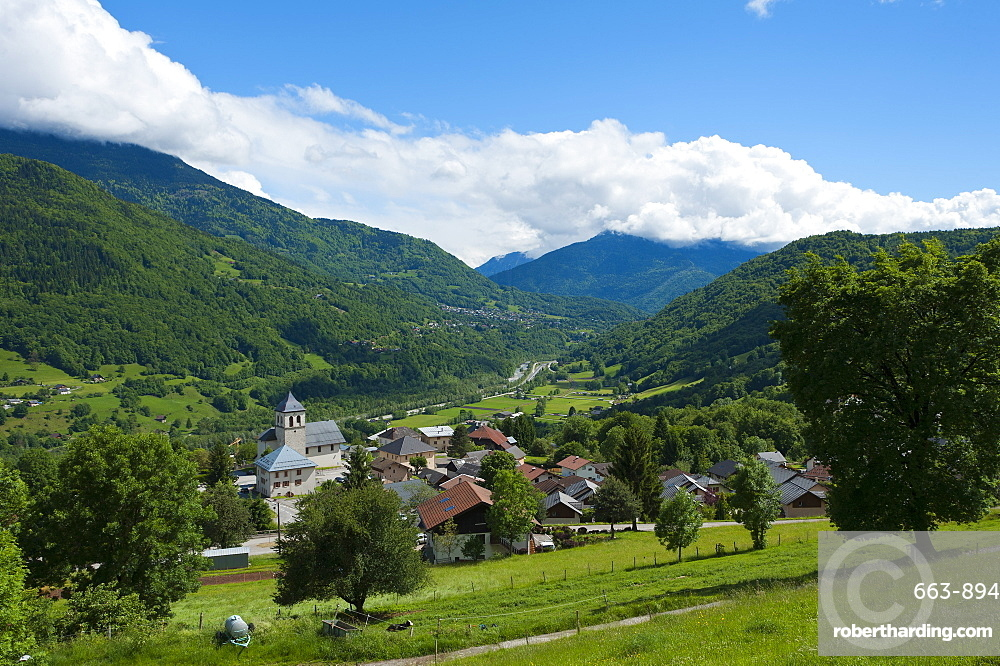 A view towards the village of Marthod in Val d'Arly, Savoie, France, Europe