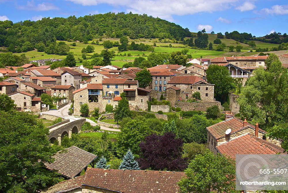 Panorama of Lavaudieu, a medieval village, Auvergne, Haute Loire, France, Europe