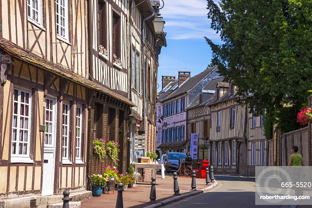 Typical half timbered houses in old town, Lyons la Foret, Eure, Normandy, France, Europe