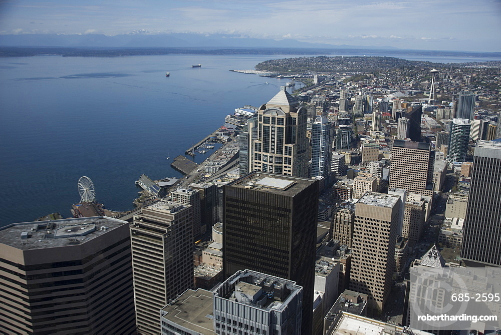 Aerial view of Seattle with | Stock Photo