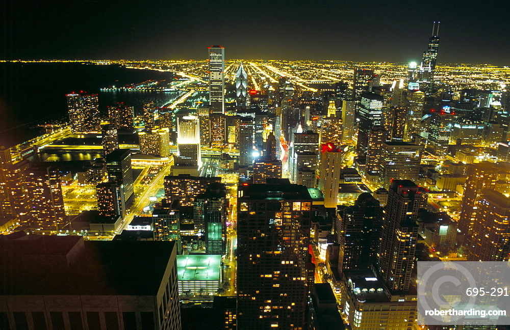 View of the city and Lake Michigan at night, Chicago, Illinois, United States of America, North America