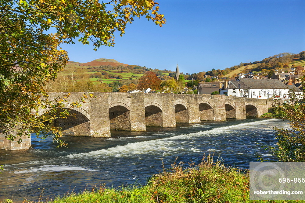 Bridge over River Usk, Crickhowell, Powys, Brecon, Wales, United Kingdom, Europe
