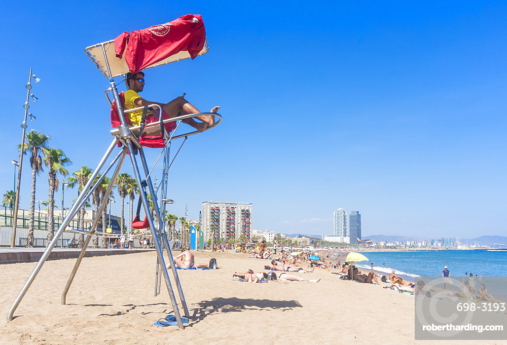 Lifeguard stationed at Barcelona beach of Barceloneta, Barcelona, Catalonia (Catalunya), Spain, Europe