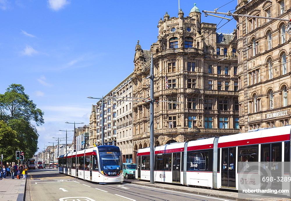 Edinburgh city trams on Princes street, Edinburgh city centre, Edinburgh, Midlothian, Scotland, UK, GB, EU, Europe