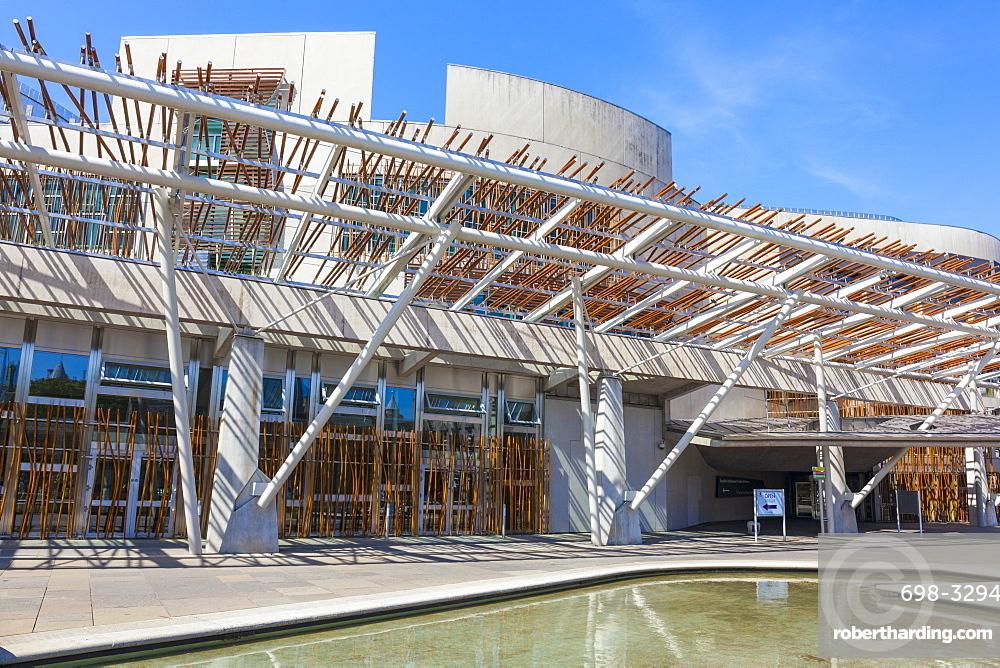 Exterior of the Scottish Parliament building, modern architecture, Holyrood, Edinburgh, Midlothian, Scotland, United Kingdom, Europe