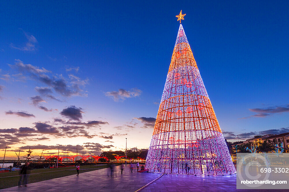 Modern design of Christmas tree with LED lights on the seafront promenade in Funchal, Madeira, Portugal, EU, Europe