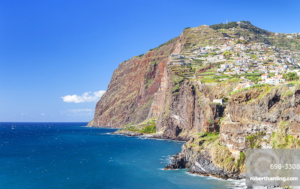View of the high sea cliff headland Cabo Girao on the south coast of Madeira, Portugal, Atlantic, Europe