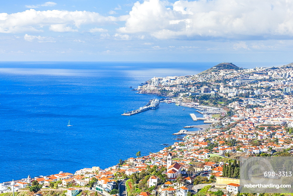 View over Funchal, capital city of Madeira, city, port and harbour, Madeirra, Portugal, Atlantic, Europe