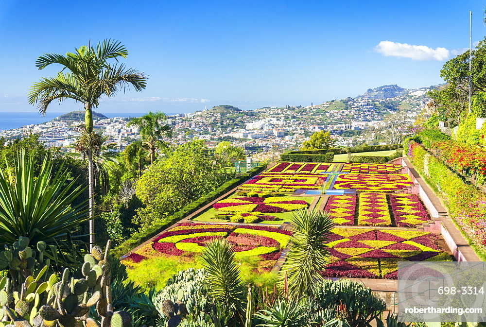 Formal garden in Madeira Botanical gardens (Jardim Botanico), above the capital city of Funchal, Madeira, Portugal, Atlantic, Europe