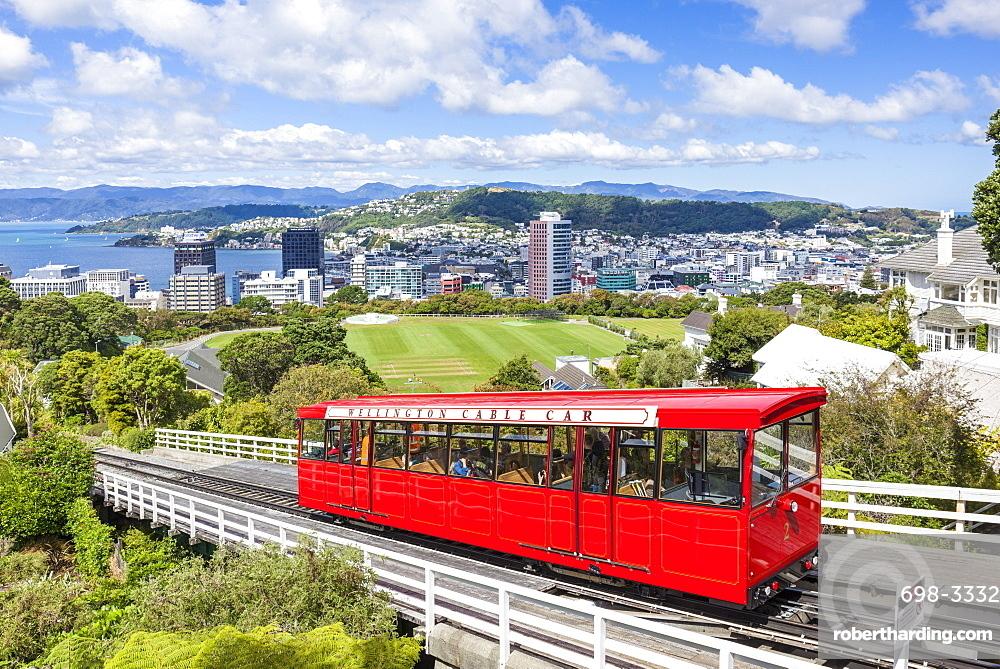 Wellington cable car and Wellington skyline, Wellington, North Island, New Zealand, Pacific