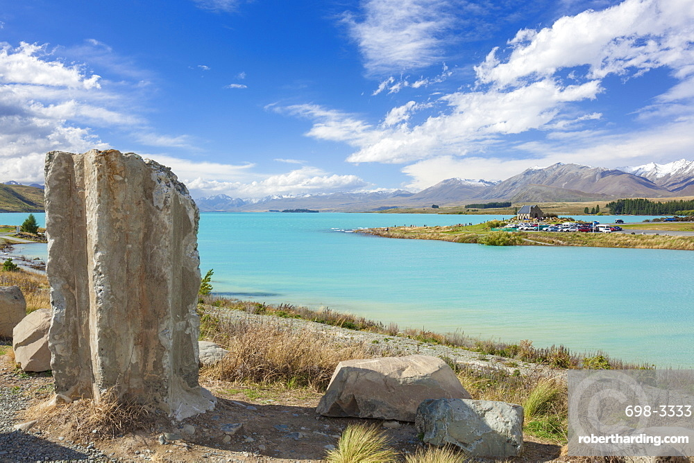 Ruined column by the side of glacial Lake Tekapo, Mackenzie district, South Island, New Zealand, Pacific