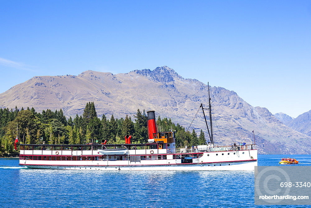 TSS Earnslaw Cruise Steamship and Cecil Peak on Lake Wakatipu, Queenstown, Otago, South Island, New Zealand, Pacific